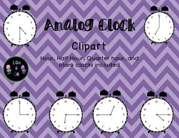 Analog Clock clipart for every fifteen minutes (hour, half hour, quarter hour)