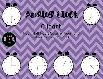 Analog Clock clipart for every fifteen minutes (hour, half