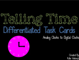 Analog Clock to Digital Clocks Task Cards - Differentiated