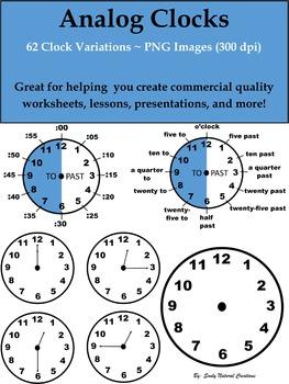 Analog Clocks Clip Art (62 PNG Images 300 dpi)