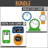 Analog & Digital Clocks Clipart Bundle