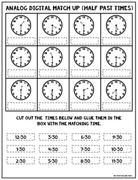 Analog Digital Clocks Match Up Activities