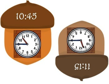 Analog / Digital Time Memory Match ~ Fall Acorn Theme ~ Grade 3 CCSS Measurement
