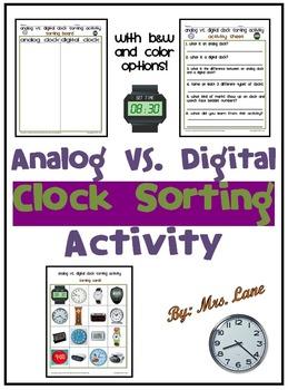 Analog VS. Digital Clock Sorting Activity