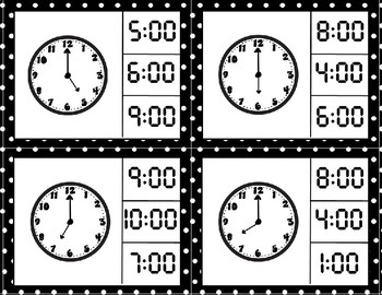 Analog and Digital Clock Match to the Hour Freebie
