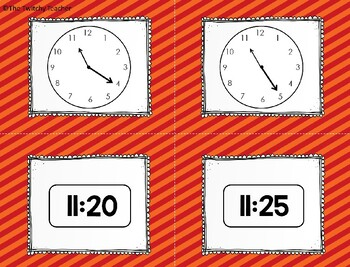 Analog and Digital Clock Matching Game-Telling Time to 5 minutes