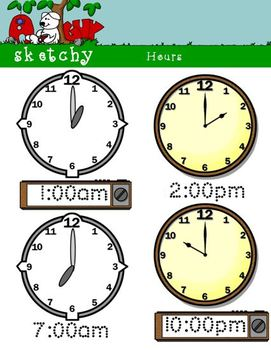 Analog and Digital Clocks by the Hour - 49, 300dpi, Color Items