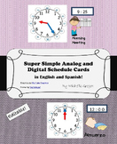 Editable Analog and Digital Schedule Cards- English and Spanish