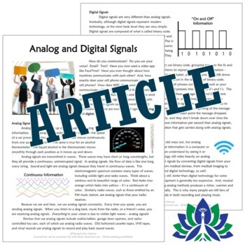 Analog and Digital Signals: Reading, Analysis & Graphing NGSS MS-PS4-3