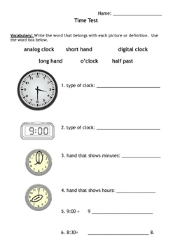 Analog and Digital Time Test