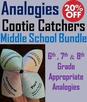Completing Analogies Activities Bundle: 6th - 8th Grade Vocabulary Practice