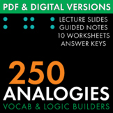 Analogies, 250 Analogy Questions, Build Vocabulary & Logic, PDF & Google Drive