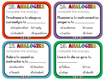 Analogy Task Cards