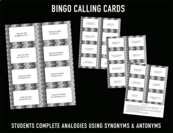 Analogies Bingo