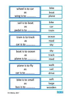 Autism, Analogies Vocabulary Clip Cards, Special Education, Speech, ESL