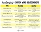 Analogies/Common Word Relationships Chart & Cards - Visual Support FREEBIE!
