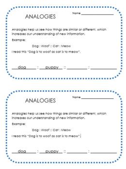 Analogies Exit Ticket