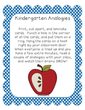 Analogies For Kindergarten