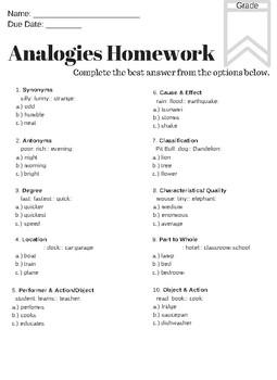 Analogies Homework