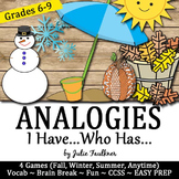 Analogies I Have/Who Has, 4 Game Set (Fall, Winter, Summer, Anytime) Brain Break