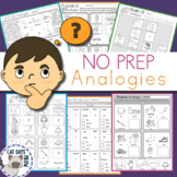 Analogies No Prep Worksheets, Print and Go, Homework, Illustrated