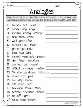 Fearless Does It Again: Analogies – Free 2nd Grade Worksheets ...