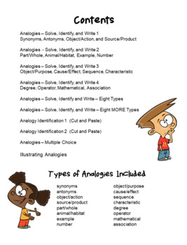 Analogies - Solve, Identify, and Write - Worksheet Set