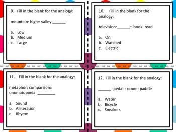 Analogies Task Card- 20