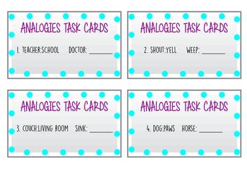 Analogies Task Cards