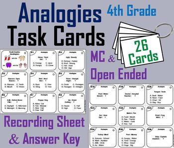 Analogies Task Cards: Analogies 4th Grade Vocabulary Games/ Vocabulary Practice