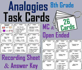 Completing Analogies Task Cards: 8th Grade Vocabulary Practice