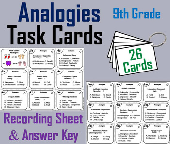Completing Analogies Task Cards: 9th Grade Vocabulary Practice