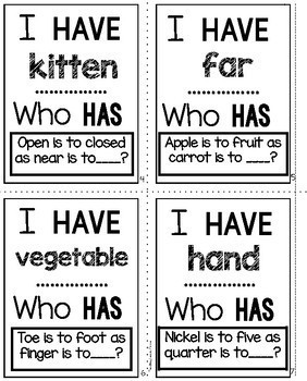 Analogies Task Cards | I Have Who Has