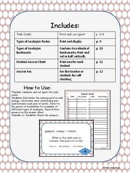 Analogies Task Cards Set 1