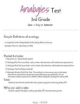 Analogies Test 3rd Grade