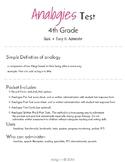 Analogies Test 4th Grade