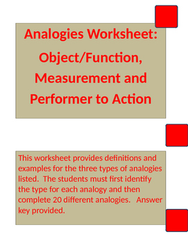 Analogies Worksheet: Object Function, Measurement and Performer/Action