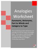 Analogies Worksheet - Synonym/Antonym, Part/Whole and Category/Type
