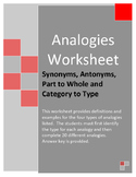 Analogies Worksheet - Synonym/Antonym, Part/Whole and Cate