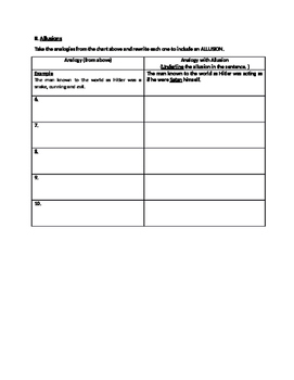 Analogies and Allusions in Songs Worksheet