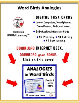 WORD BIRD ANALOGIES UNIT ... TASK CARDS ... REVIEW  Grades 5-6 Vocabulary