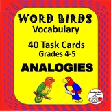 WORD BIRDS ANALOGIES UNIT ... TASK CARDS plus DIGITAL VERSION Gr. 4-5 Vocabulary