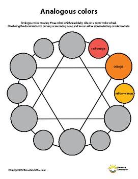 Analogous Color Handout for Elements of Art Principles of Design Visual Arts