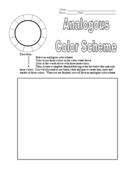 Analogous Color Scheme Worksheet for Art Teachers - Great for Middle/High School