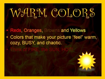 Analogous colors: Warm and Cool colors and their effects on the viewer