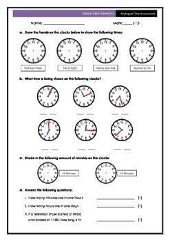 Analogue Time Assessment 1