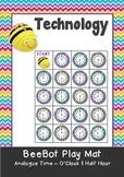 Analogue Time - Hour O'Clock & Half Hour Maths BeeBot Play Mat. Bee Bot Coding