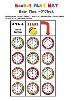Analogue Time - Hour O'Clock Maths BeeBot Play Mat  Bee Bot Coding