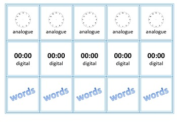 Analogue and Digital Time Memory Matching Game