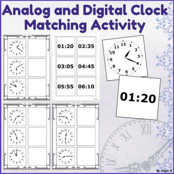 Analogue to Digital Clock Matching Activity